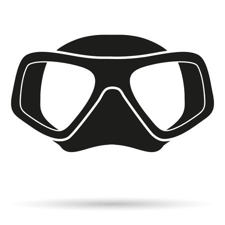 水中ダイビング スキューバ ダイビングのマスクのシルエットのシンボルです。正面から見た図。簡易図免白い背景の上。