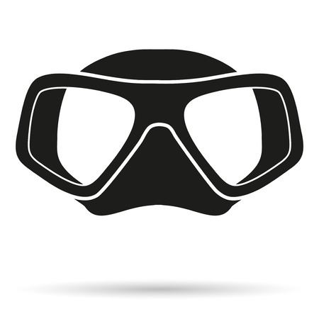 Silhouette symbol of Underwater diving scuba mask. Front view. Simple Illustration Isolated on white background. Stock Photo