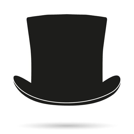 magical equipment: Silhouette symbol of black gentleman hat cylinder. Simple Illustration isolated on white background.