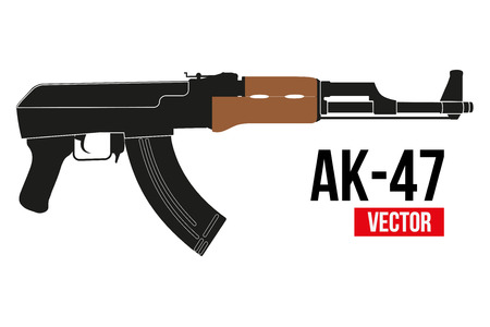 kalashnikov: Russian automatic machine rifle AK 47 in flat silhouette style.. Vector Illustration isolated on white background.