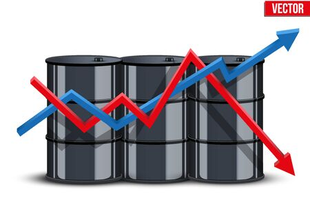 stock quotes: Oil barrel on the background graphics prices with diagram. The rise in price and cheaper petroleum. Vector Illustration.