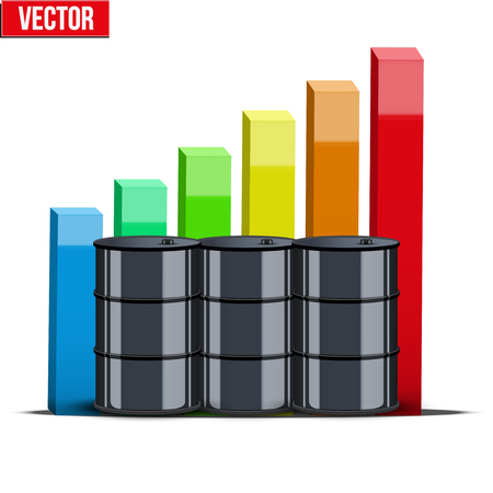 cheaper: Oil barrel on the background graphics prices with diagram. The rise in price and cheaper petroleum. Vector Illustration.
