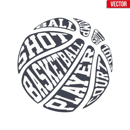 Símbolos de deportes de pelota de baloncesto con la tipografía. Ilustración del vector aislado en el fondo blanco.