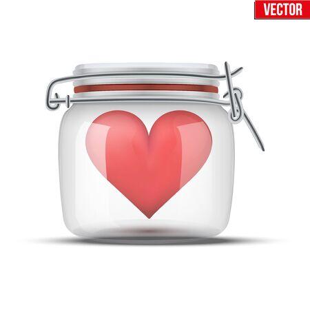 glass jar: Red heart inside glass jar. Vector Illustration isolated on white background. Illustration