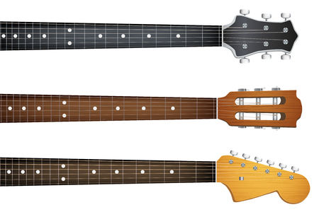 headstock: Set of Guitar neck fretboard and headstock. Vector Illustration isolated on white background. Illustration