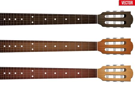 guitarra: Conjunto de guitarras clásicas diapasón de cuello y cabezal. Ilustración del vector aislado en el fondo blanco.