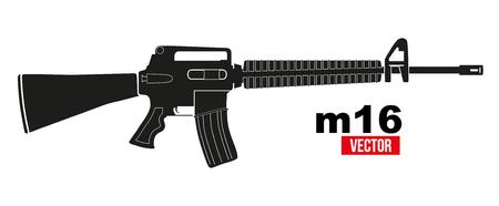 M16 라이플 플랫 실루엣 스타일입니다. 흰색 배경에 고립 된 벡터 일러스트 레이 션