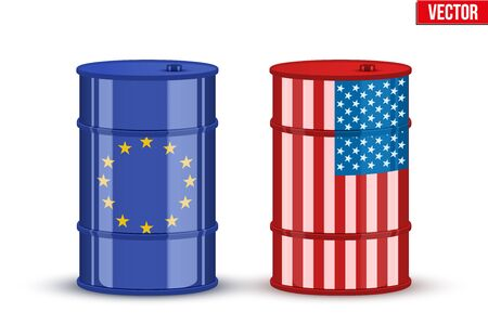 barel: Symbols of Benchmark crude trading oil BRENT and WTI.  Industry Vector Illustration isolated on white background.