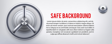 Background with a safe and and lock and place for text. Vector Illustration