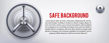 caja fuerte: Fondo con un seguro y y cerradura y el lugar de texto. Ilustración vectorial