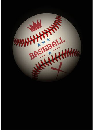 Dark Background of baseball sports. Symbol of ball. Realistic Vector Illustration.