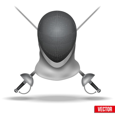 traditional sport: Background of Fencing symbol. Epees and helmet mask. Traditional sport defense and attack. Vector illustration. Illustration
