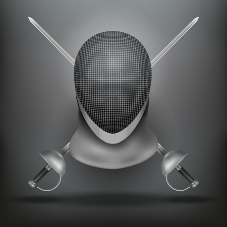 traditional sport: Dark Background of Fencing symbol. Epees and helmet mask. Traditional sport defense and attack. Vector illustration. Illustration
