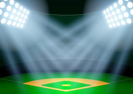 campo de beisbol: Antecedentes Horizontal para carteles noche estadio de béisbol en el centro de atención. Ilustración vectorial editable.