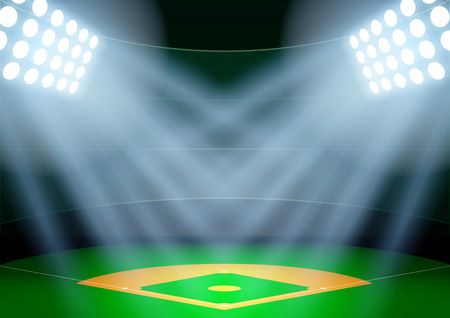 softball: Horizontal Background for posters night baseball stadium in the spotlight. Editable Vector Illustration.