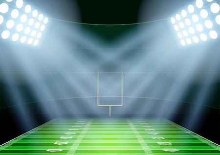 horizontální: Horizontální zázemí pro plakáty noční americký fotbalového stadionu v centru pozornosti. Upravitelné vektorové ilustrace.