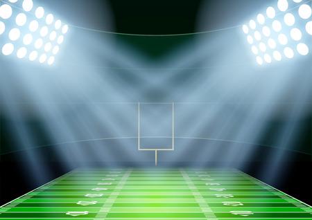 campo di calcio: Sfondo orizzontale per i manifesti di notte lo stadio di football americano sotto i riflettori. Illustrazione vettoriale modificabile. Vettoriali