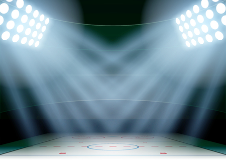 ice arena: Horizontal Background for posters night ice hockey stadium in the spotlight. Editable Vector Illustration.