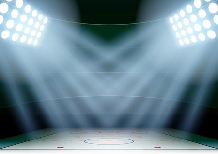 Horizontale Achtergrond voor posters nacht ijshockeystadion in de schijnwerpers. Bewerkbare vector illustratie.