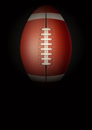 Dark Background american football sports. Symbol of ball. Realistic Vector Illustration. Vettoriali