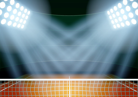 tenis: Antecedentes Horizontal para carteles noche estadio de tenis en el centro de atención. Ilustración vectorial editable. Vectores