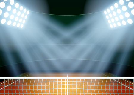 Horizontale Hintergrund für Plakate Nacht Tennisstadion im Rampenlicht. Editierbare Vektor-Illustration. Standard-Bild - 45713198