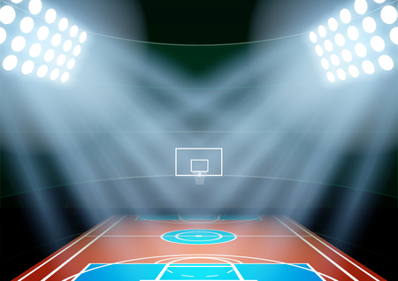 Horizontal Background for posters night multisport stadium in the spotlight. Editable Vector Illustration. Illustration