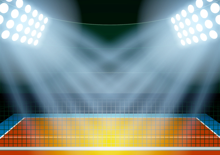 announcement: Horizontal Background for posters night volleyball stadium in the spotlight. Editable Vector Illustration. Illustration
