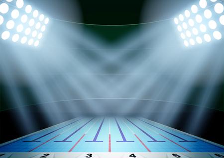 competencia: Antecedentes Horizontal para carteles noche estadio piscina en el centro de atención. Ilustración vectorial editable.