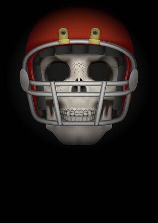 Dark Background american football sports. Symbol of skull with helmet. Realistic Vector Illustration.