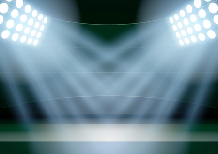 affiche: Horizontal Background for posters night fencing stadium in the spotlight. Editable Vector Illustration.