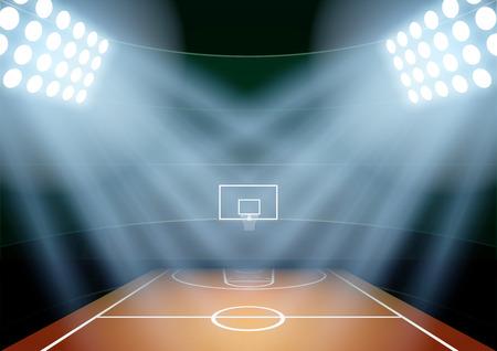baloncesto: Antecedentes horizontal para carteles noche estadio de baloncesto en el centro de atención. Ilustración vectorial editable.