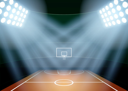 basketball: Horizontal Background for posters night basketball stadium in the spotlight. Editable Vector Illustration.