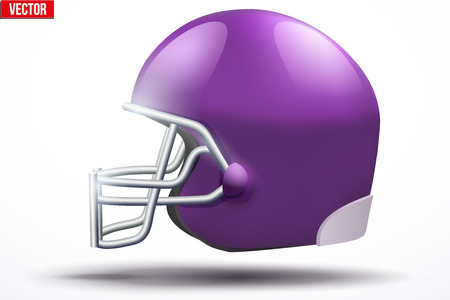 american football helmet: Realistic Violet American football helmet with reflex. Equipment sport illustration. Side view. Vector Isolated on white background. Illustration