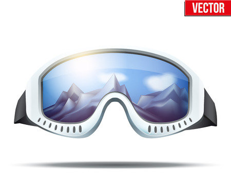 snow ski: Classic vintage old school ski goggles with glass reflecting the winter mountains. Vector isolated on white background