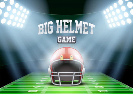 football fan: Horizontal Background for posters night american football stadium in the spotlight with big sport helmet. Editable Vector Illustration.