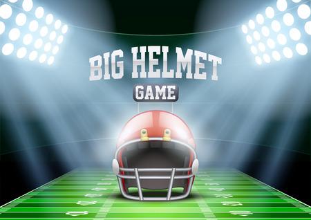 campo di calcio: Sfondo orizzontale per i manifesti di notte lo stadio di football americano sotto i riflettori con il grande casco sportivo. Illustrazione vettoriale modificabile.