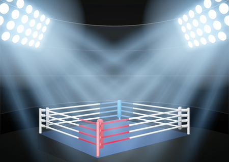 lamp shade: Horizontal Background for posters night boxing prize ring in the spotlight. Editable Vector Illustration.