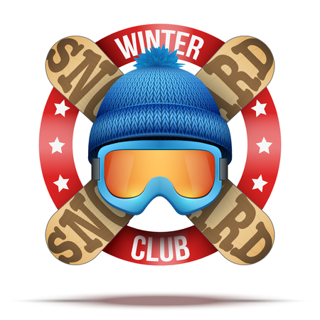 woolen: Ski club or team. Symbols of winter woolen hat and snowboards with ribbon. Vector Illustration isolated on background.