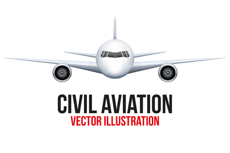 private jet: Front view of Civil Aircraft. Vector Illustration isolated on background. Illustration