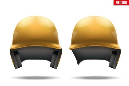 softball player: Set of Classic Orange baseball helmets. Sample equipment for your design. Vector illustration Isolated on white background. Illustration