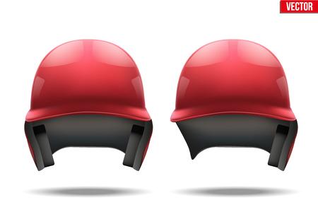 softball player: Set of Classic red baseball helmets. Sample equipment for your design. Vector illustration Isolated on white background. Illustration