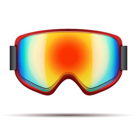 sunglasses reflection: Classic snowboard goggles with big spherical rainbow glass . Vector isolated on white background Illustration