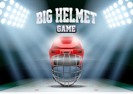hockey hielo: Horizontal noche Antecedentes estadio de hockey sobre hielo en el centro de atención con gran casco de portero. Ilustración vectorial editable.