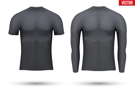 compression: Black Base layer compression shirt of thermal fabric. Sample typical technical illustration.  Vector Illustration isolated on white background