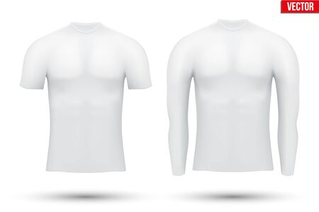 perspiration: White Base layer compression shirt of thermal fabric. Sample typical technical illustration.  Vector Illustration isolated on white background Illustration