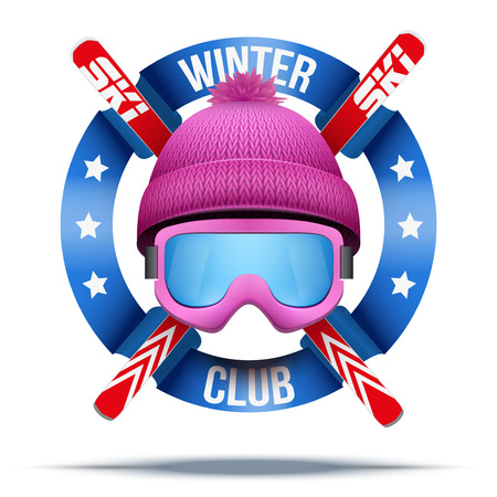 Ski club or team. Symbols of winter woolen hat and ski with ribbon. Vector Illustration isolated on background.  イラスト・ベクター素材
