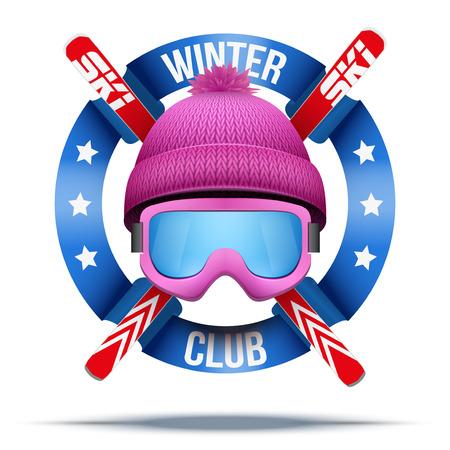 スキー クラブまたはチーム。冬のウールの帽子とリボンとスキーのシンボル。ベクトル イラスト背景に分離されました。  イラスト・ベクター素材