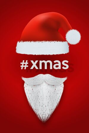 santa claus hats: Xmas Background of Santa with space for text. Red hat and white beard. Vector Illustration.