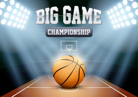 Horizontal Fond nuit Stade de basket à l'honneur avec grosse boule. Illustration vectorielle modifiable.